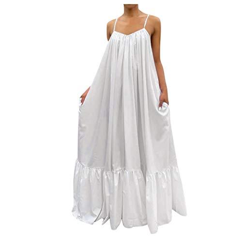 Julhold Vestido de mujer de moda sólido con cordones suelto, espalda abierta, vestido de playa