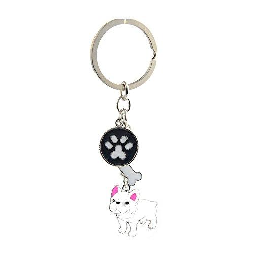 Key-Ring Keychain,Cute Metal Small Dog Puppy Keychain Keyring Keyfob Car Bag Charm Dog Tag Chains Birthday (White French Bulldog)