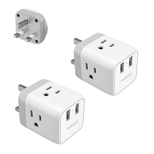 UK Ireland Hong Kong Travel Adapter 2 Pack, TESSAN UK Power Adapter with 3 American Outlets and 2 USB Ports, USA to UK England Scotland Irish Plug Adaptor - Grounded Type G