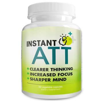 InstantATT - 7-in-1 Caffeine Free Nootropic All-Natural Brain, Focus, Memory Supplement (60 Capsules)