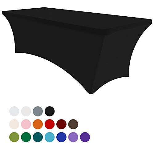 Mejor Eurmax 6Ft Rectangular Fitted Spandex Tablecloths Wedding Party Table Covers Event Stretchable Tablecloth (Black) crítica 2020