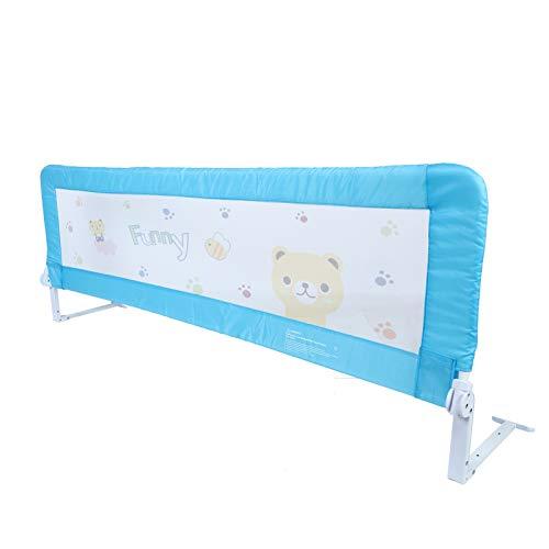 Zerone Riel para cama de bebé, plegable de 180 cm, barandilla de seguridad para niños, barandilla para cama de bebé, barra lateral segura, azul, 180 x 64 cm