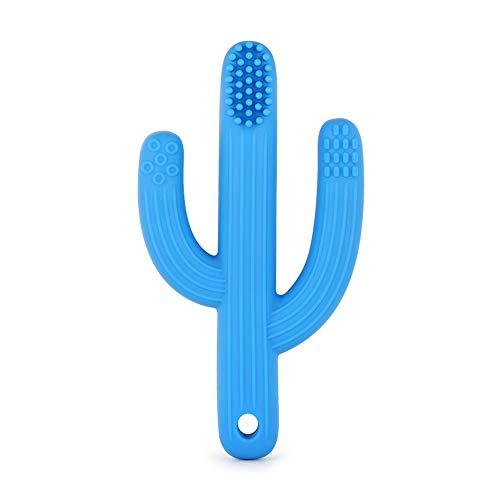 Cepillo De Dientes De Cactus De Juguete De Dentición para Bebés Es Un Cepillo De Dientes De Pasta De Dientes De Cactus Que Se Alivia Automáticamente para Bebés De 0 A 36 Meses Y Niños Pequeños,Blue