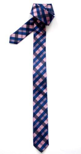 Retreez Herren Schmale Gewebte Krawatte Tartan Plaid Muster 5 cm - rosa und blau