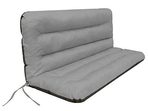 Cojín para columpio de jardín • Cojín para banco • Cojín para banco • Cojín de asiento y respaldo • Cojín de jardín • Ancho del asiento 150 cm gris claro