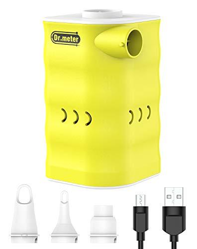 Dr.meter 6000mAh elektrische Luftpumpe, leistungsstarker wiederaufladbarer Schnellfüll Luftmatratze Pumpe mit Stromversorgung über USB mit 3 Luftdüse für aufblasbare Matratze,Kissen,Bett,Boot