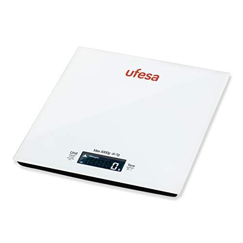 Ufesa BC1100 - Báscula de cocina digital, hasta 5kg, Función especial para pesar leche, agua y tazas, Cristal templado