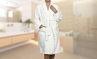 Superior Hotel & Spa Robe, 100% Premium Long-Staple Combed Cotton Unisex Bath Robe for Women and Men - Medium, White