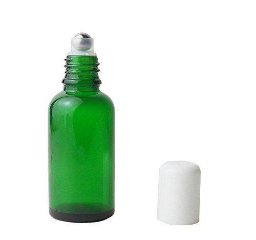 3pcs 30 ml gehobenen leer nachfüllbar grün Glas auf Rolle Flaschen ätherisches Öl Parfüm Flaschen mit Weiß Gap Rosenöl Flasche