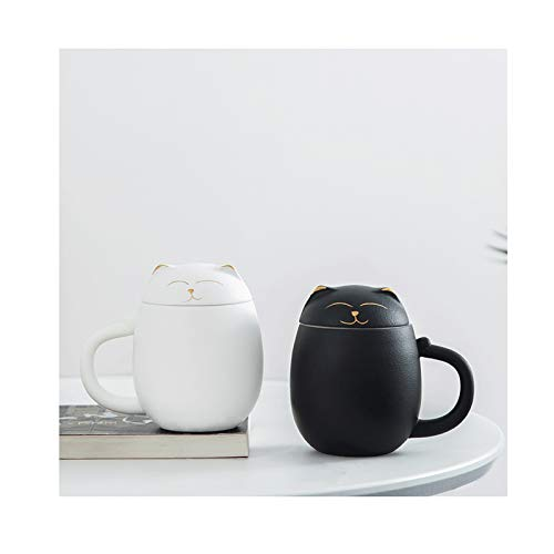 Taza de café Personalidad creativa Taza de cerámica doméstica con tapa de taza de té de la tapa de la taza de gran capacidad de la taza de agua de la oficina taza hecha a mano de la taza de regalo 2pa