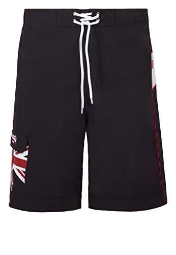 Lonsdale Beach Shorts Badehose Herren Schwarz Boxen Kampfsport, Größenauswahl:L