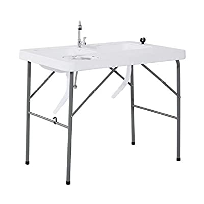 Outsunny Portable Folding Camping Sink Table with Faucet and Dual Water Basins, Outdoor Fish Table Sink, 40'