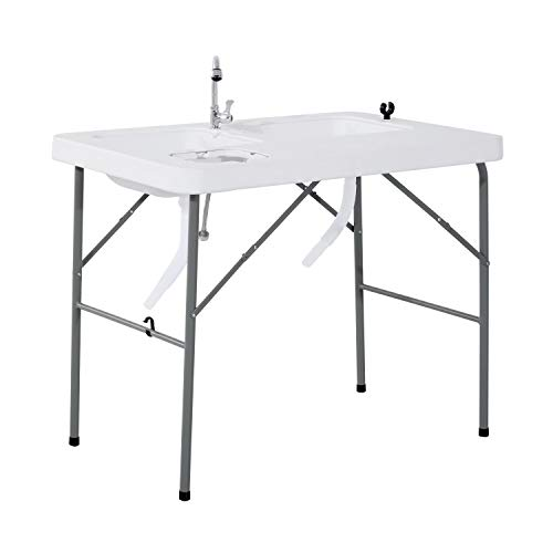 Outsunny Portable Folding Camping Sink Table with Faucet and Dual Water Basins, Outdoor Fish Table...