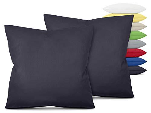 Unifarbene Kissenbezüge im Doppelpack - in 8 Farben und 3 Größen - Moderne Wohndekoration in dezentem Design, ca. 80 x 80 cm, anthrazit