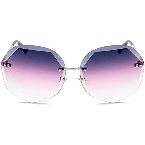 ZHANG Gafas de Sol con Corte de Cristal Moda para Mujer Polígono Protección UV400 Marco Plateado Espejo Degradado de Polvo Púrpura