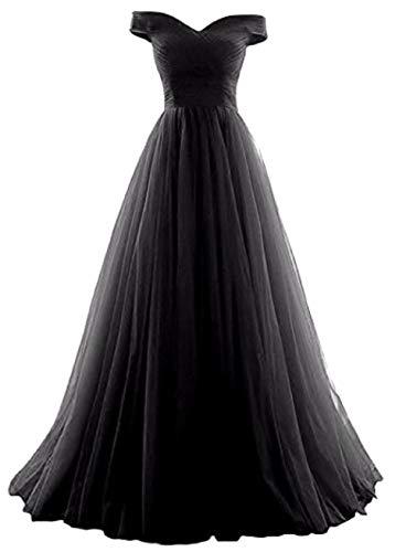 Romantic-Fashion Damen Ballkleid Abendkleid Brautkleid Lang Modell E270-E275 Rüschen Schnürung Tüll DE Schwarz Größe 42