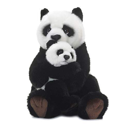 WWF - Peluche Maman Panda et Bébé - Peluche Réaliste avec de Nombreux Détails Ressemblants - Douce et Souple - Normes CE - Hauteur 28 cm