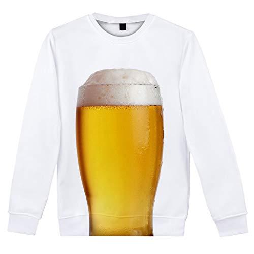 serliy😛Herren T-Shirts 3D Bier Muster Kurzen Ärmels Langarm Shirt Sport Fitness T-Shirt Lässig Shirt Sommer Top Weich Bequem Oberteil Kleidung Bluse Mode Streetwear Print Unisex Basic Hemd