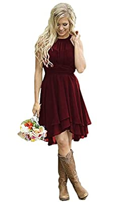 AlfaBridal Women's Country Bridesmaid Dresses Short Burgundy Chiffon Wedding Guest Dress US16