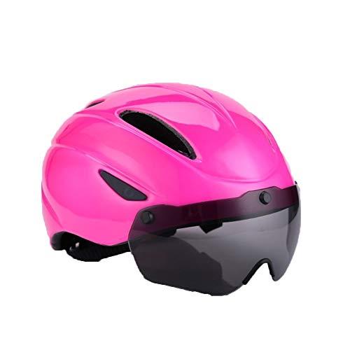 Yi-xir Diseño Discreto Nuevas Gafas magnetizadas Casco Incorporado Casco de Bicicletas Bicicleta de montaña Casco Hombres y Mujeres Casco Clásico, Ligero y Elegante (Color : Rose Red)