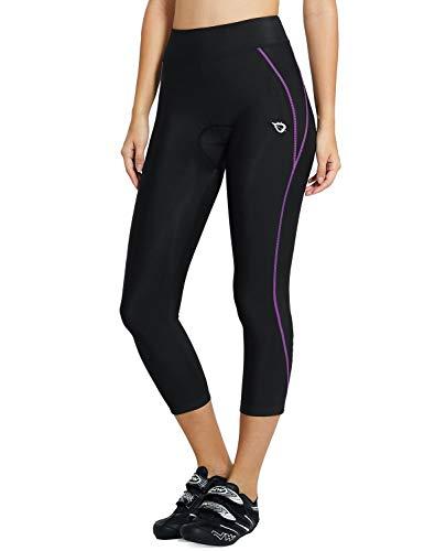 BALEAF- Pantaloni da ciclismo da donna con imbottitura 3D, lunghezza 3/4, pinocchietti, leggings in tessuto traspirante, UPF 50+, Donna, Linea 03-viola, Small