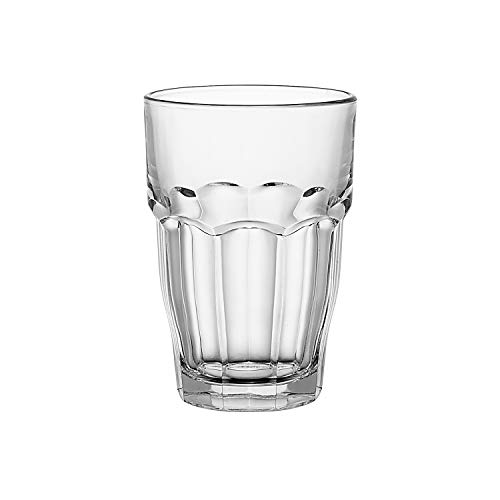 Bormioli Rocco Rock Bar Stackable Beverage Glasses – Set Of 6 Dishwasher Safe Drinking Glasses For Soda Juice Milk Coke Beer Spirits – 125oz Durable Tempered Glass Water Tumblers For Daily Use