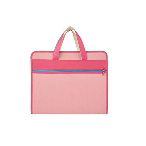 HUIJUNWENTI Aktenpaket, A4-Studententasche, Tragbare Test-Büroklammer Aktentasche mit mehrschichtiger Aufbewahrung, Konferenztrainingstasche, Rosa, Blau, Grün, Schwarz (Color : Pink)