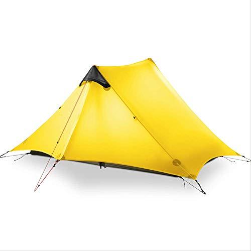 BAJIE tent 2 3F Ul Gear 2 Person Oudoor Ultralight Camping Tent 4 Season Professional 15D Silnylon Rodless Tent Yellow 1P 3 Season