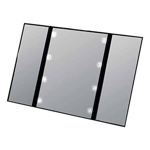 コモライフ(Comolife) LEDメイクアップ三面鏡 化粧鏡 卓上ミラー 角度調節可 折りたたみミラー LEDライト付 コンパクト 携帯にも