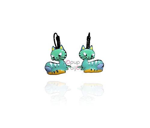 LOL Bijoux – Pendientes de gato – gato azul – POpup-Bijoux