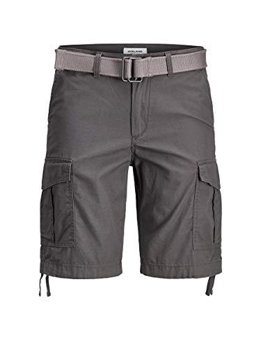 Jack & Jones - Pantaloncini cargo da uomo con chiusura lampo asfalto M