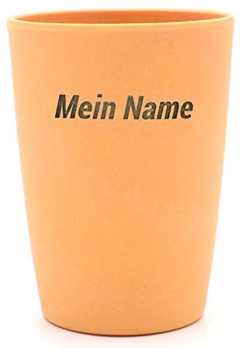 Magu 2X Becher mit Namen personalisierter Bambus Trinkbecher - Individuelle Namensgravur Zahnputzbecher 461 - naturorange