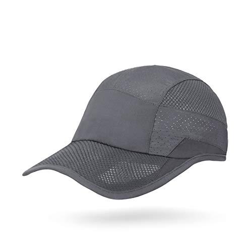ZEARE schnell trocknend wasserdicht atmungsaktiv Hut Polyester Baumwolle Sonnenhut leichte Baseballmütze Sport Cap Unisex (Dunkelgrau 0703)