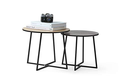 LIFA LIVING 2er Set runde Beistelltische aus MDF Holz und Metall in schwarz und braun, 2X Beistelltische im modernen Design, 2er-Set Couchtische, Zwei Wohnzimmertische, Sofatische