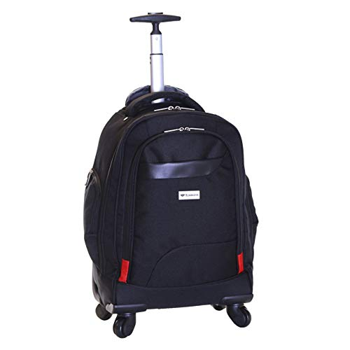 Slimbridge Wheeled Cabin Hand Luggage Overnight Carry-On Laptop Backpack Bag 55 cm 2.5 kg 35 litres with 4 Spinner Wheels, Eastport Black