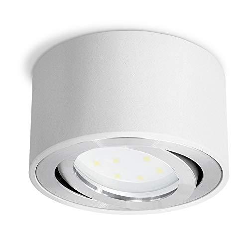 CELI-1W LED Aufbauspot weiß rund - flach nur 50 mm - Aufbaustrahler schwenkbar mit fourSTEP LED 5W warmweiß Dimmen ohne Dimmer