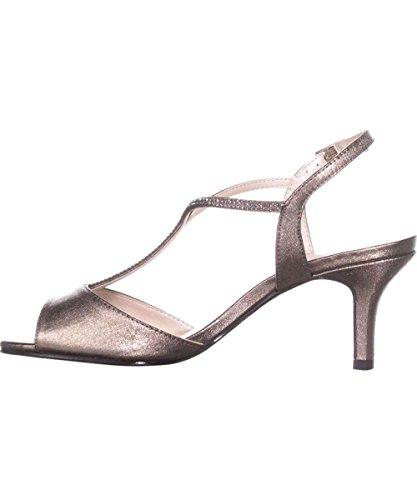 Caparros Womens Delicia Open Toe Formal T-Strap Pumps Shoes Sandals Mushroom Metallic 8.5