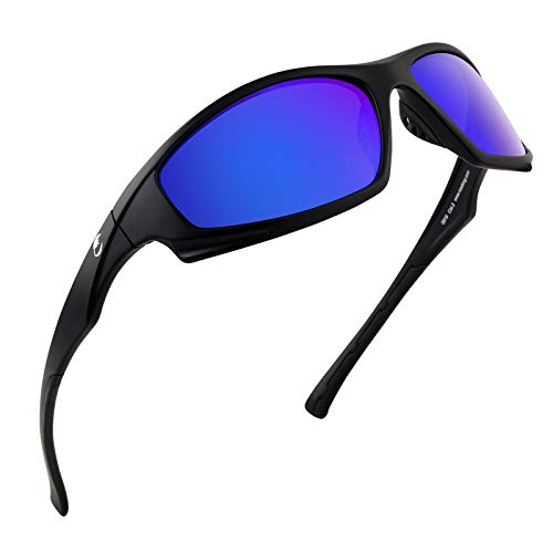 Calamus Turmoil Polarized Sport Sunglasses for Men and Women,Matte Blackout Frame,Smoke Base Midnight Mirror