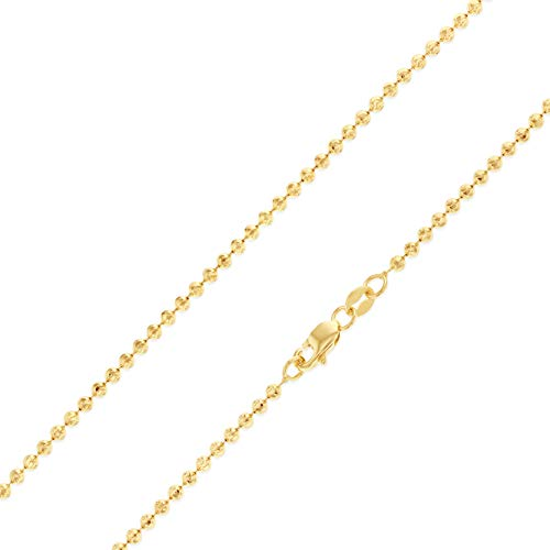 Ioka - 14K Yellow Solid Gold 2mm Moon-Cut Ball Chain Necklace with Lobster Clasp - 22""