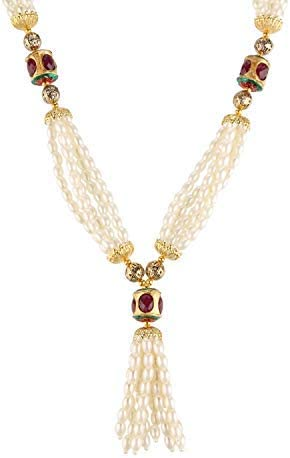 Efulgenz Indian Bollywood Multi Layered Faux Pearl Crystal Beads Bridal Tassel Strand Necklace Earrings Wedding Jewelry Set