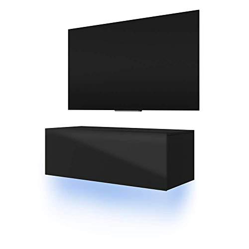 Skylara - Meuble TV Suspendu/Table Basse TV/Banc TV de Salon (100 cm, Noir Mat/Noir Brillant avec LED Bleue)