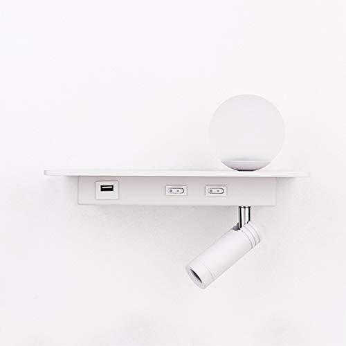 Luz de la pared de lectura de la cama con puerto de carga USB, lámpara de pared LED, escono de pared flexible, con pantalla de vidrio congelado y foco ajustable,Blanco