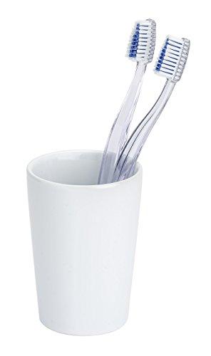 Wenko 21695100 Coni Wit tandenborstelbeker/tandenborstelhouder, voor tandenborstel en tandpasta, keramiek, 7,5 x 10,7 x 7,5 cm, wit