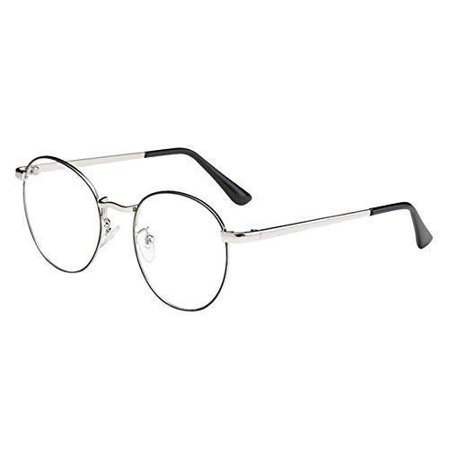 Zhuhaixmy Unisex Klassisch Metall Runden Felge Komfortabel Brille Kurzsichtig Kurzsichtigkeit Brillen Harz Löschen Linsen (Stärke -0.5, Schwarz & Silber) (Diese sind nicht Lesen Brille)