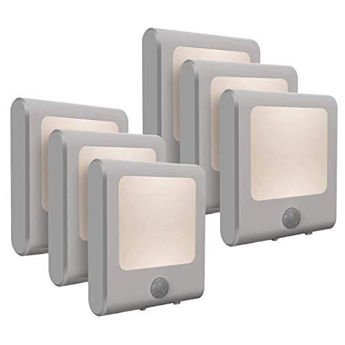 [6-Pack] Vintar Motion Sensor Dimmable LED Night Light, Plug-in Nightlight with Auto Dusk to Dawn Sensor, Adjustable Brightness Warm White Lights for Hallway, Kids Room, Kitchen, Stairway, Bathroom