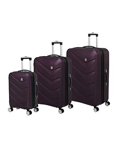 it luggage Chevron 8-Wheel Hardside Expandable 3-Piece Set, Potent Purple