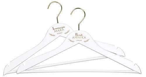 LAUBLUST 2 Kleiderbügel zur Hochzeit - Zweige Motiv - Personalisiert mit Wunsch-Gravur - ca. 44 cm, Holz, Weiß