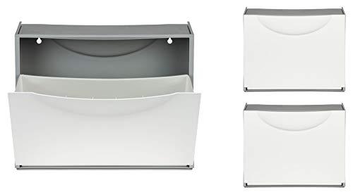 Kreher XL Schuhschrank aus Kunststoff in Weiß. DREI Schuhkipper für insgesamt ca. 9 Paar Schuhe. Erweiterbar, abwaschbar, robust, multifunktional.