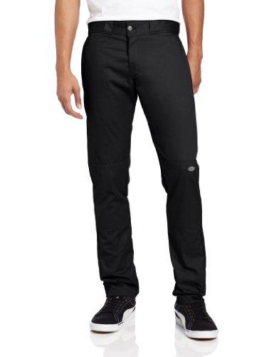 Dickies Men's Skinny Straight Double Knee Work Pant, Black, 32x32