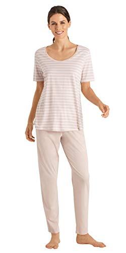Hanro Damen Laura Short Sleeve Long Pajama Pyjama Set, Marzipan Stripe, X-Large